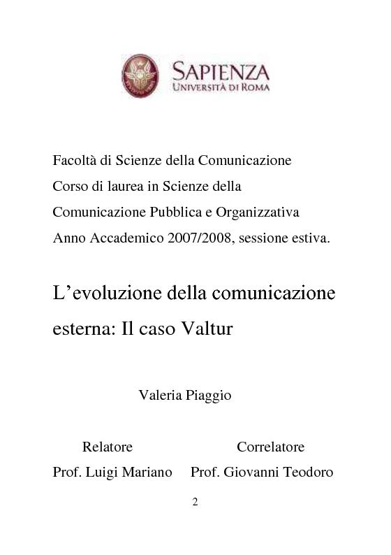 Anteprima della tesi: L'evoluzione della comunicazione esterna: il caso Valtur, Pagina 1