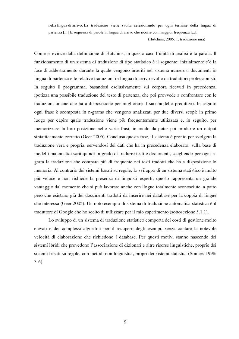 Estratto dalla tesi: Valutazione della qualità della traduzione automatica dall'inglese all'italiano