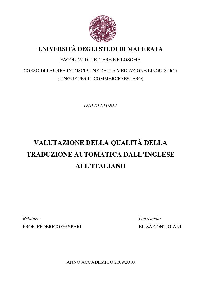 Anteprima della tesi: Valutazione della qualità della traduzione automatica dall'inglese all'italiano, Pagina 1