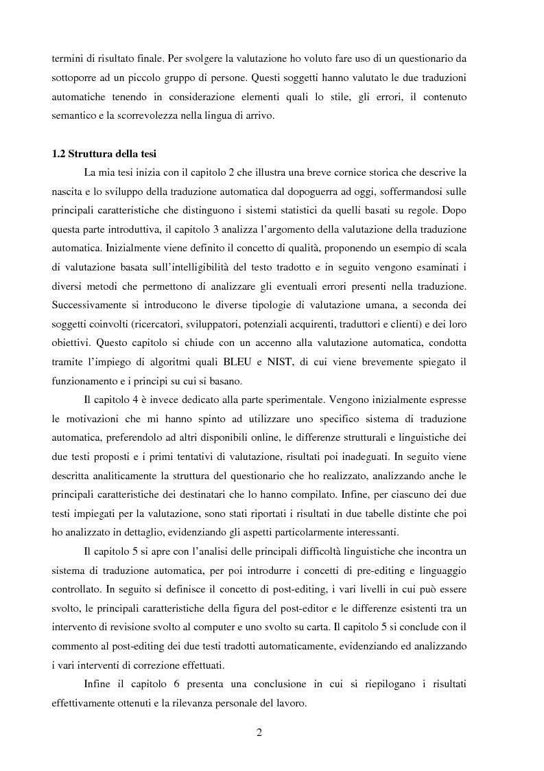 Anteprima della tesi: Valutazione della qualità della traduzione automatica dall'inglese all'italiano, Pagina 3