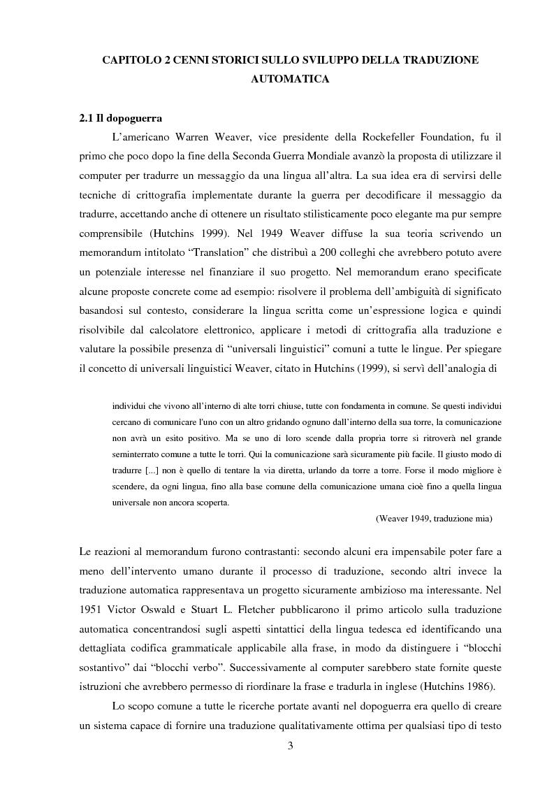 Anteprima della tesi: Valutazione della qualità della traduzione automatica dall'inglese all'italiano, Pagina 4