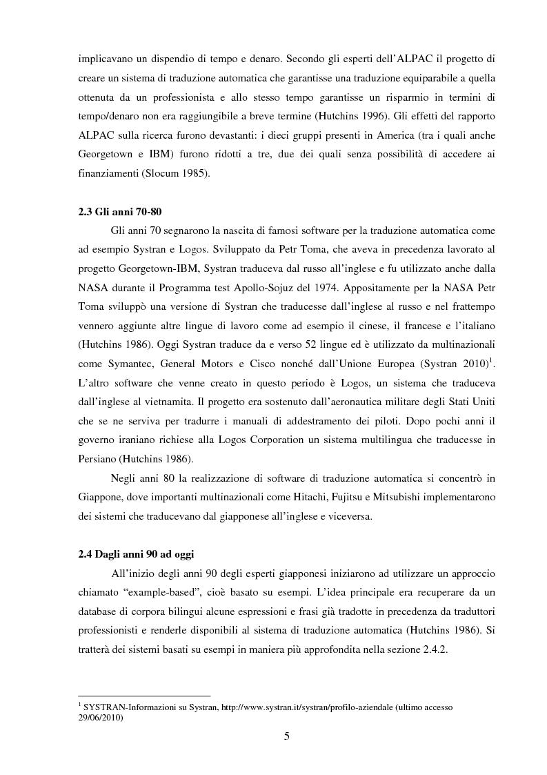Anteprima della tesi: Valutazione della qualità della traduzione automatica dall'inglese all'italiano, Pagina 6