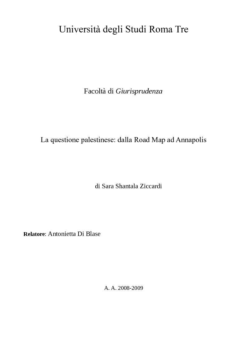 Anteprima della tesi: La questione palestinese: dalla Road Map ad Annapolis, Pagina 1
