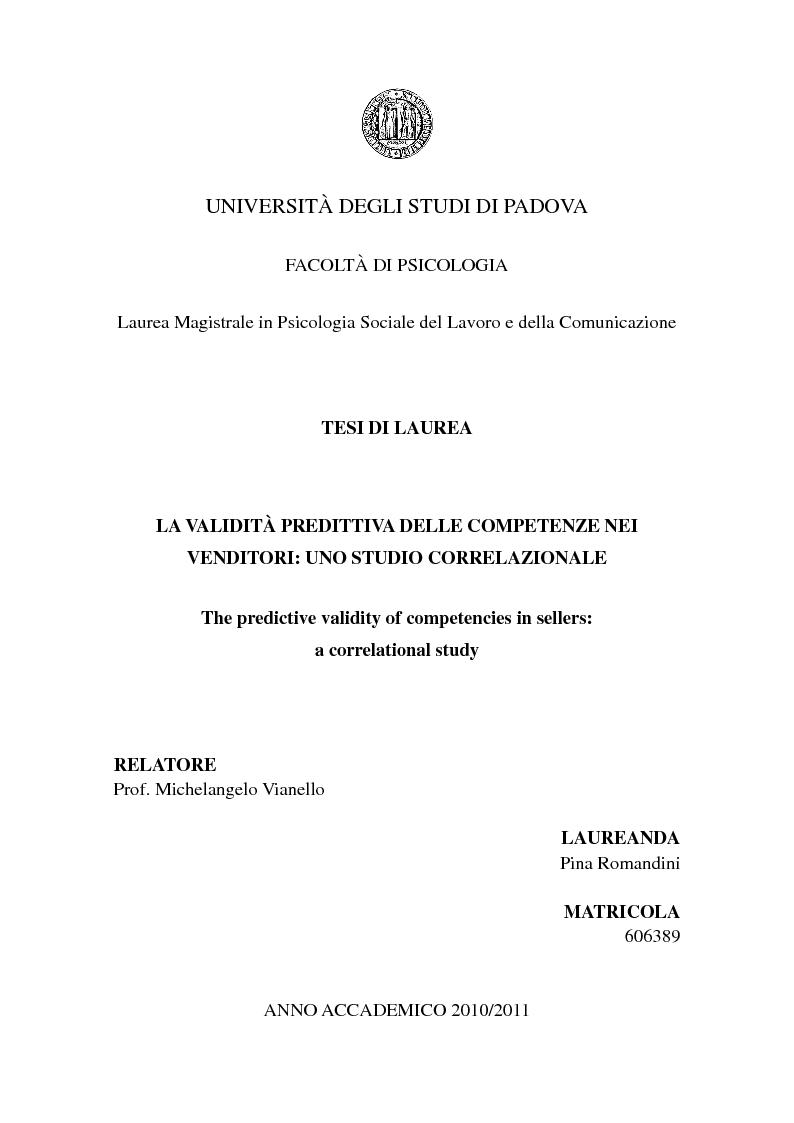 Anteprima della tesi: La validità predittiva delle competenze nei venditori: uno studio correlazionale., Pagina 1