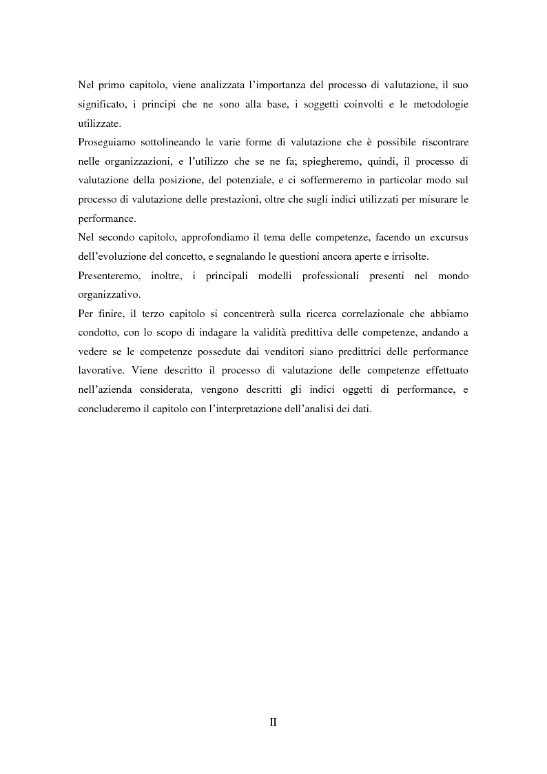 Anteprima della tesi: La validità predittiva delle competenze nei venditori: uno studio correlazionale., Pagina 3