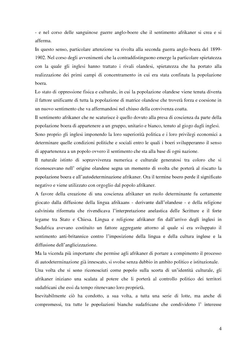 Anteprima della tesi: L'autopercezione delle comunità sudafricane nel periodo dell'apartheid, Pagina 3