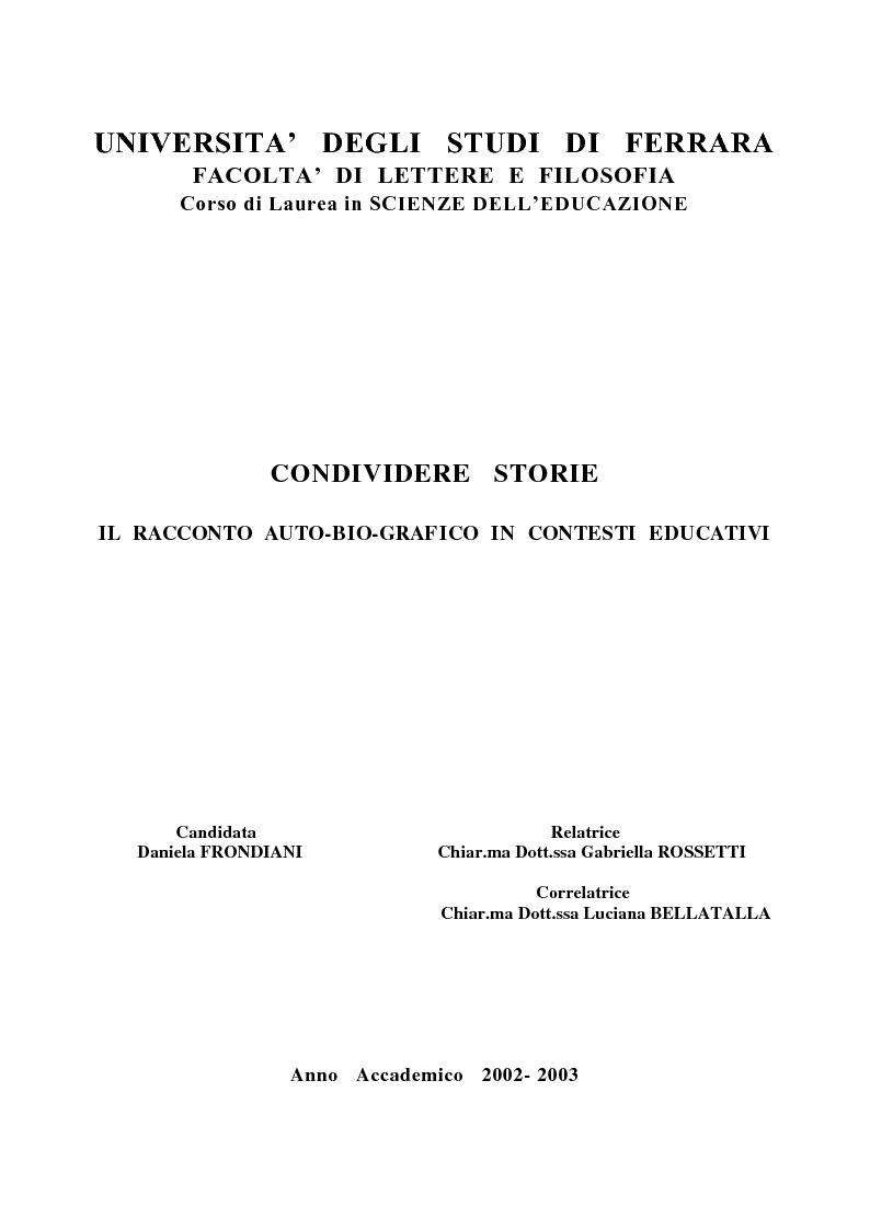 Anteprima della tesi: Condividere storie. Il racconto auto-bio-grafico in contesti educativi, Pagina 1