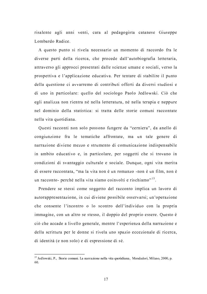 Anteprima della tesi: Condividere storie. Il racconto auto-bio-grafico in contesti educativi, Pagina 15