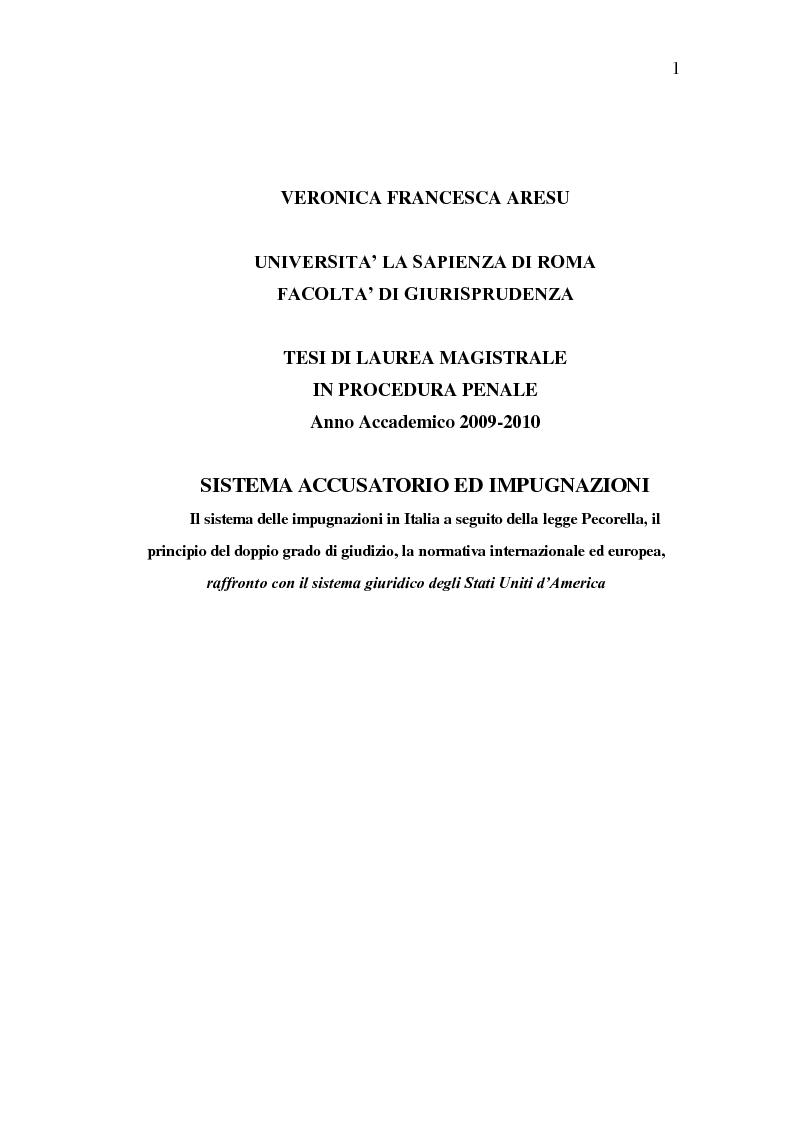 Anteprima della tesi: Sistema Accusatorio ed Impugnazioni, Pagina 1