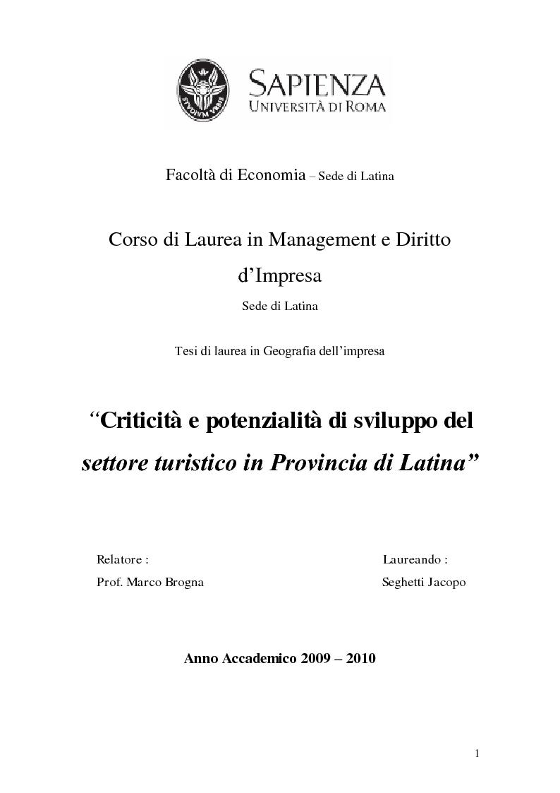 Anteprima della tesi: Criticità e potenzialità di sviluppo del settore turistico in provincia di Latina, Pagina 1