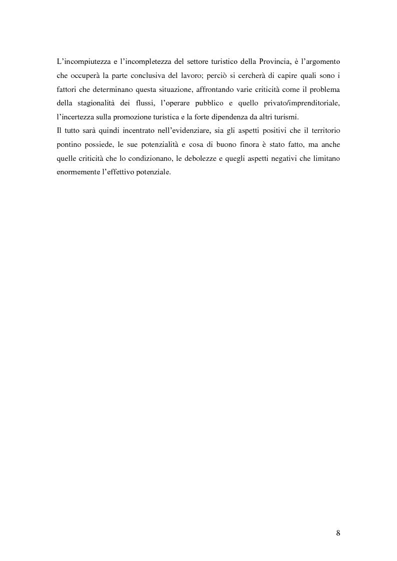 Anteprima della tesi: Criticità e potenzialità di sviluppo del settore turistico in provincia di Latina, Pagina 4