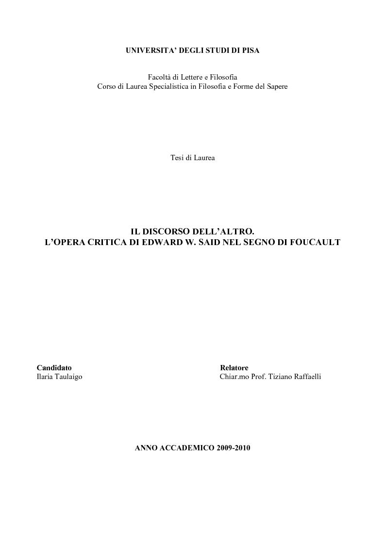 Anteprima della tesi: Il discorso dell'Altro. L'opera critica di Edward W. Said nel segno di Foucault, Pagina 1