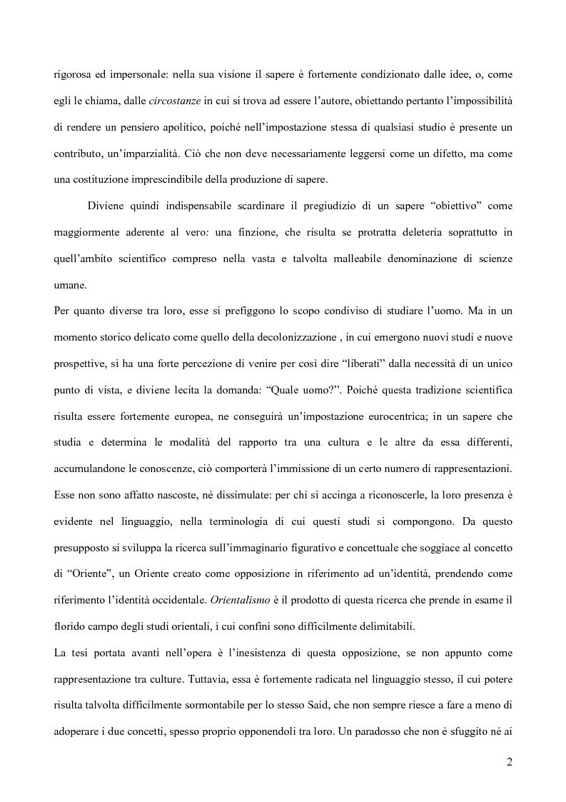 Anteprima della tesi: Il discorso dell'Altro. L'opera critica di Edward W. Said nel segno di Foucault, Pagina 3
