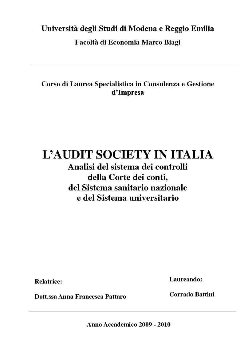 Anteprima della tesi: L'Audit Society in Italia. Analisi del sistema dei controlli della Corte dei conti, del Sistema sanitario nazionale e del Sistema universitario, Pagina 1