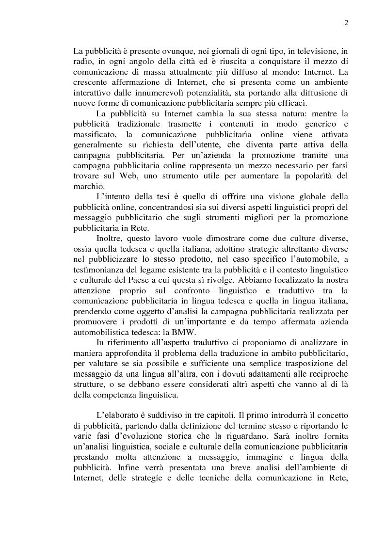 Anteprima della tesi: La comunicazione pubblicitaria online in tedesco e italiano: il caso BMW, Pagina 3