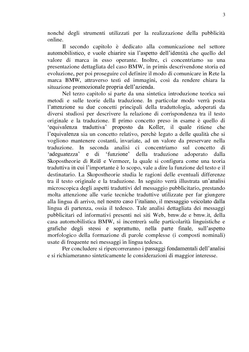 Anteprima della tesi: La comunicazione pubblicitaria online in tedesco e italiano: il caso BMW, Pagina 4