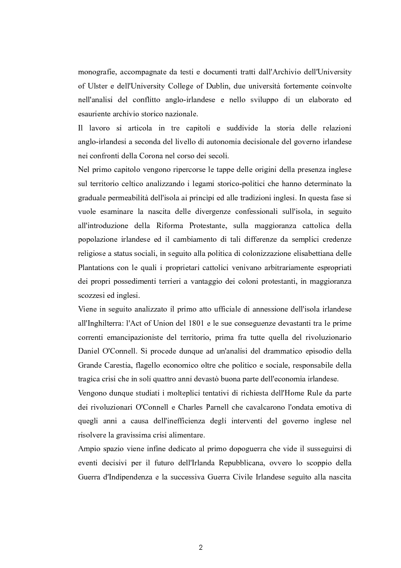 Anteprima della tesi: La questione nazionalista irlandese: analisi del conflitto anglo-irlandese dall'occupazione britannica al processo di pacificazione attuale., Pagina 3