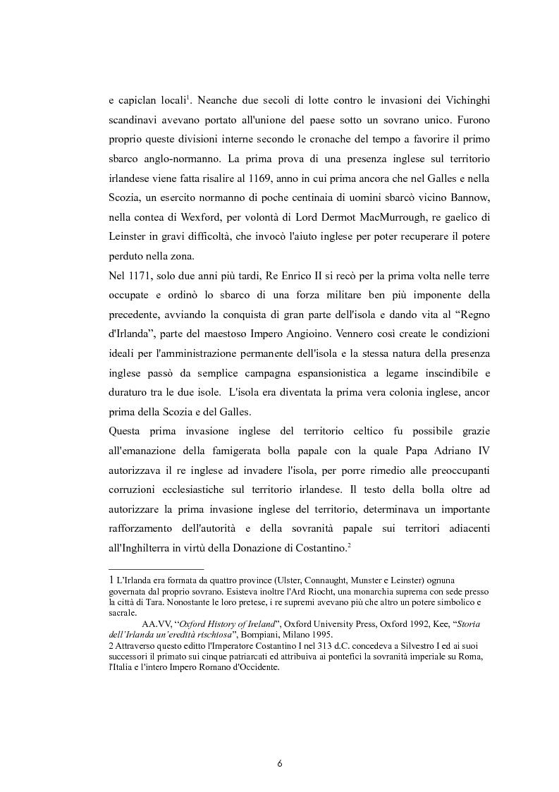 Anteprima della tesi: La questione nazionalista irlandese: analisi del conflitto anglo-irlandese dall'occupazione britannica al processo di pacificazione attuale., Pagina 7