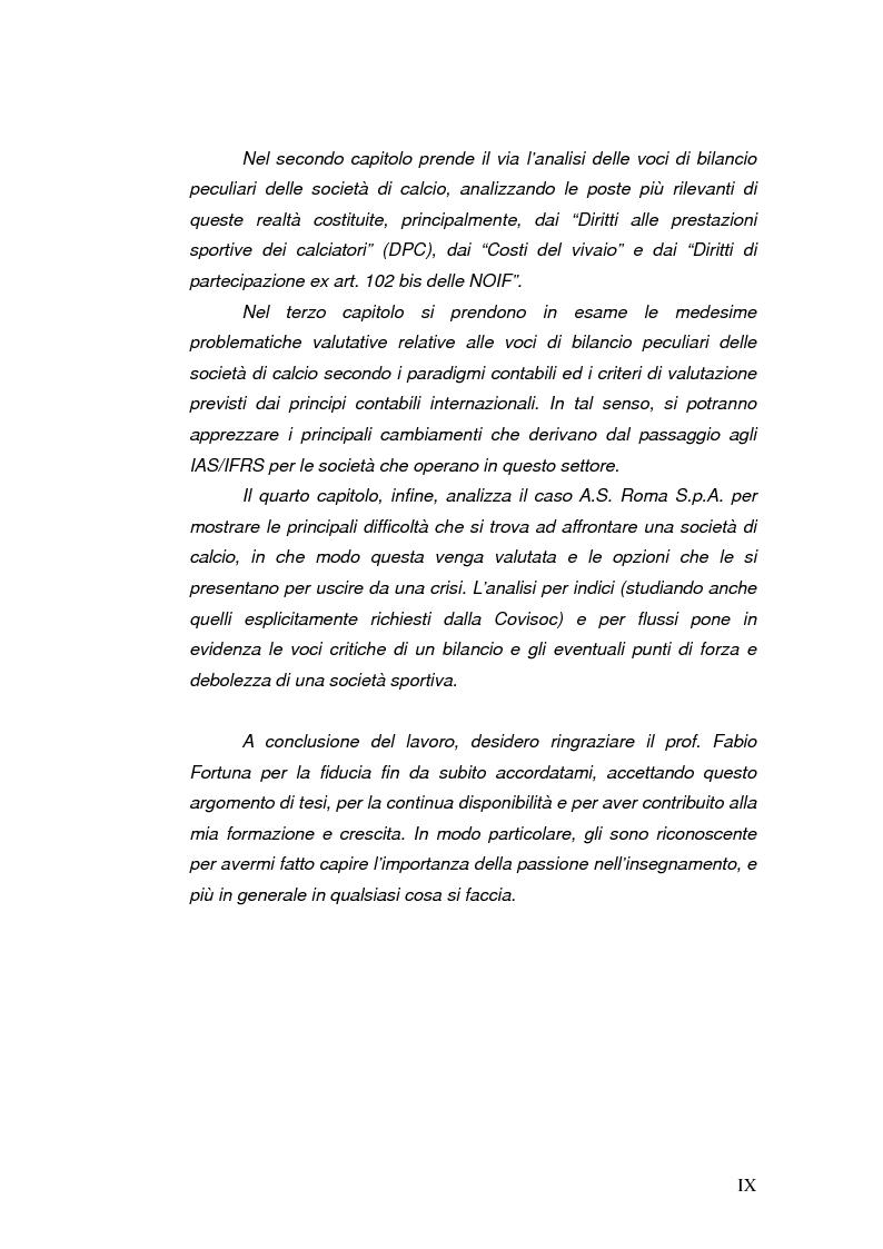 Anteprima della tesi: Il bilancio delle società di calcio: normativa nazionale e principi contabili internazionali. Analisi del caso A.S. ROMA., Pagina 5