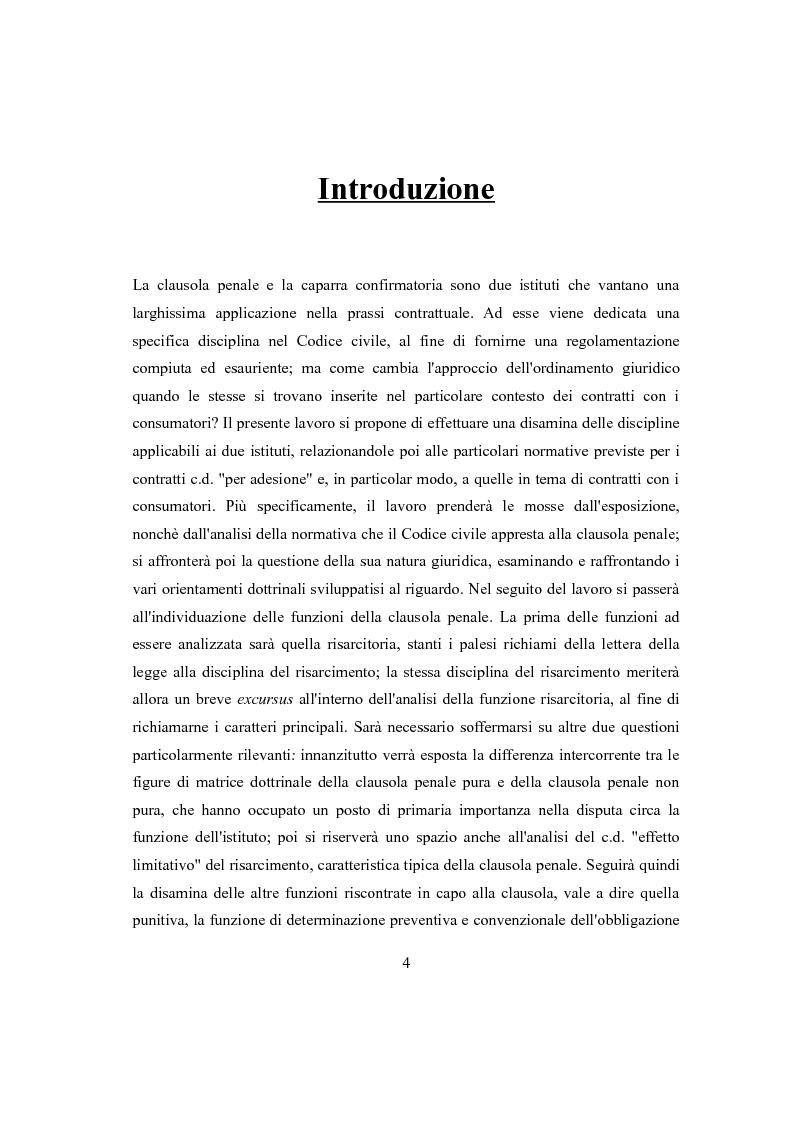 Anteprima della tesi: Clausola penale e caparra confirmatoria nei contratti con i consumatori, Pagina 2