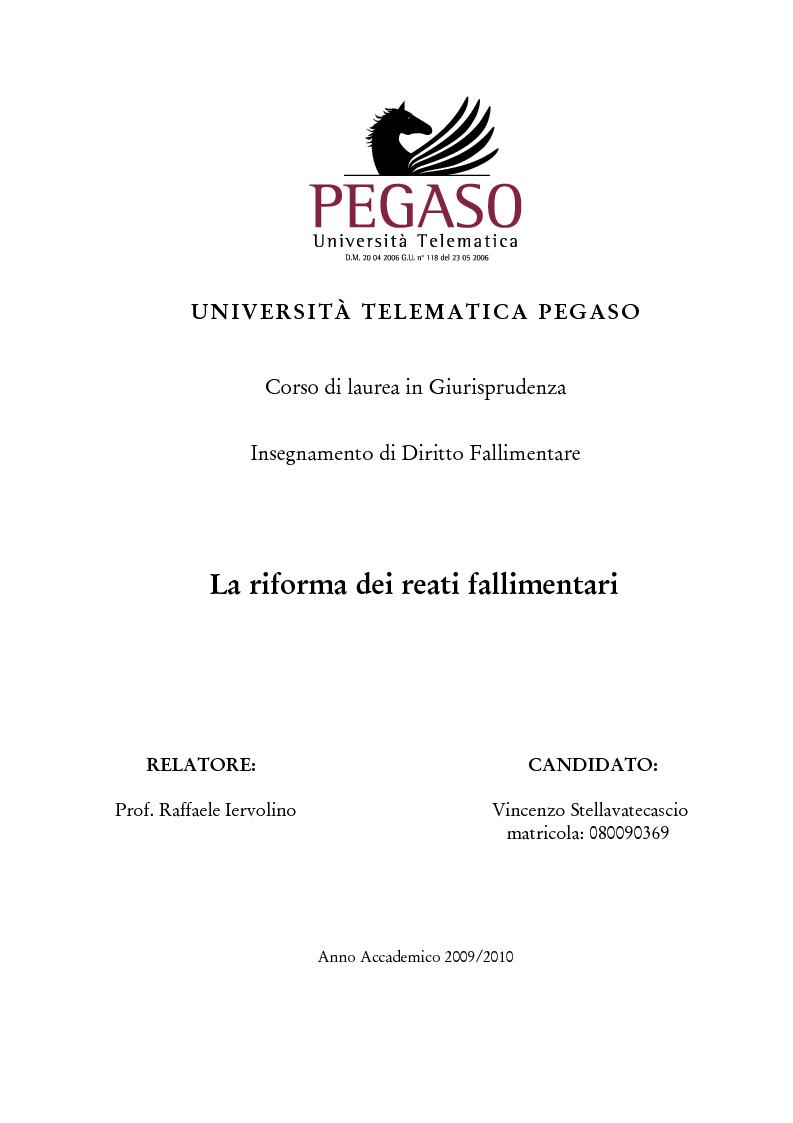 Anteprima della tesi: La riforma della disciplina penale fallimentare, Pagina 1