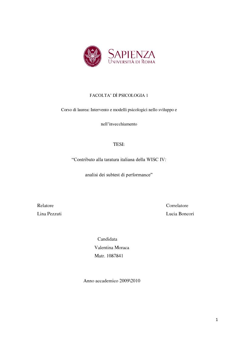 Anteprima della tesi: Contributo alla taratura italiana della WISC IV: analisi dei subtest di performance, Pagina 1