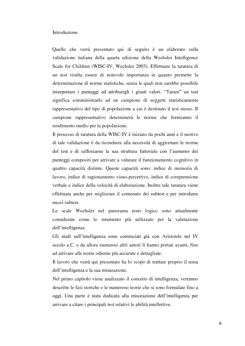 Anteprima della tesi: Contributo alla taratura italiana della WISC IV: analisi dei subtest di performance, Pagina 2