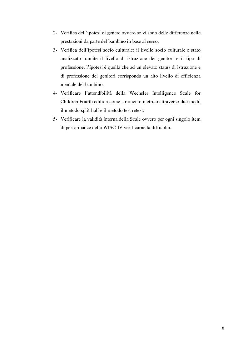 Anteprima della tesi: Contributo alla taratura italiana della WISC IV: analisi dei subtest di performance, Pagina 4