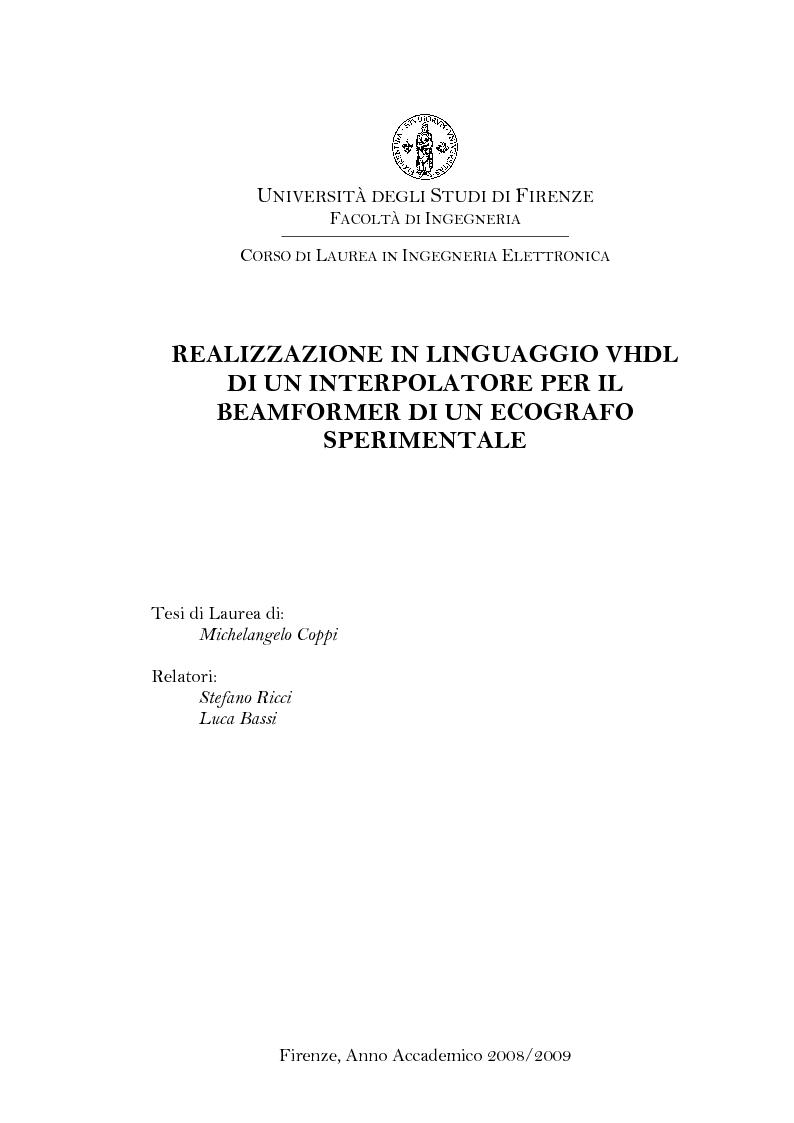 Anteprima della tesi: Realizzazione in linguaggio VHDL di un interpolatore per il beamformer di un ecografo sperimentale, Pagina 1