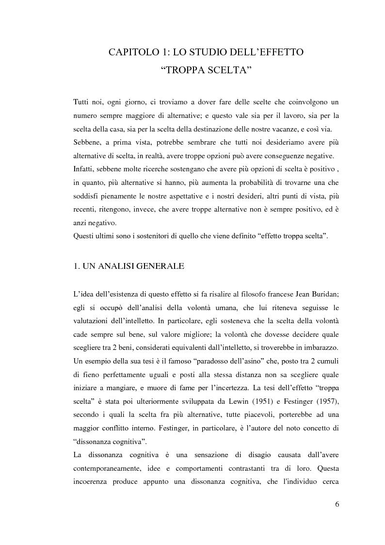 Anteprima della tesi: L'influenza della dimensione dell'assortimento sulle scelte d'acquisto, Pagina 2
