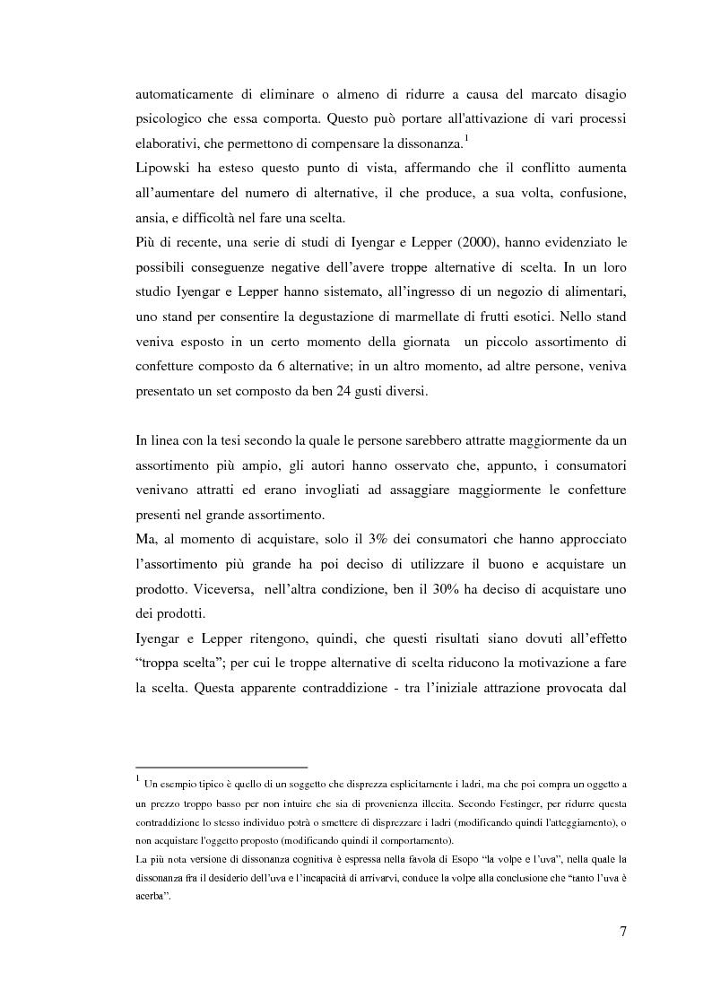 Anteprima della tesi: L'influenza della dimensione dell'assortimento sulle scelte d'acquisto, Pagina 3