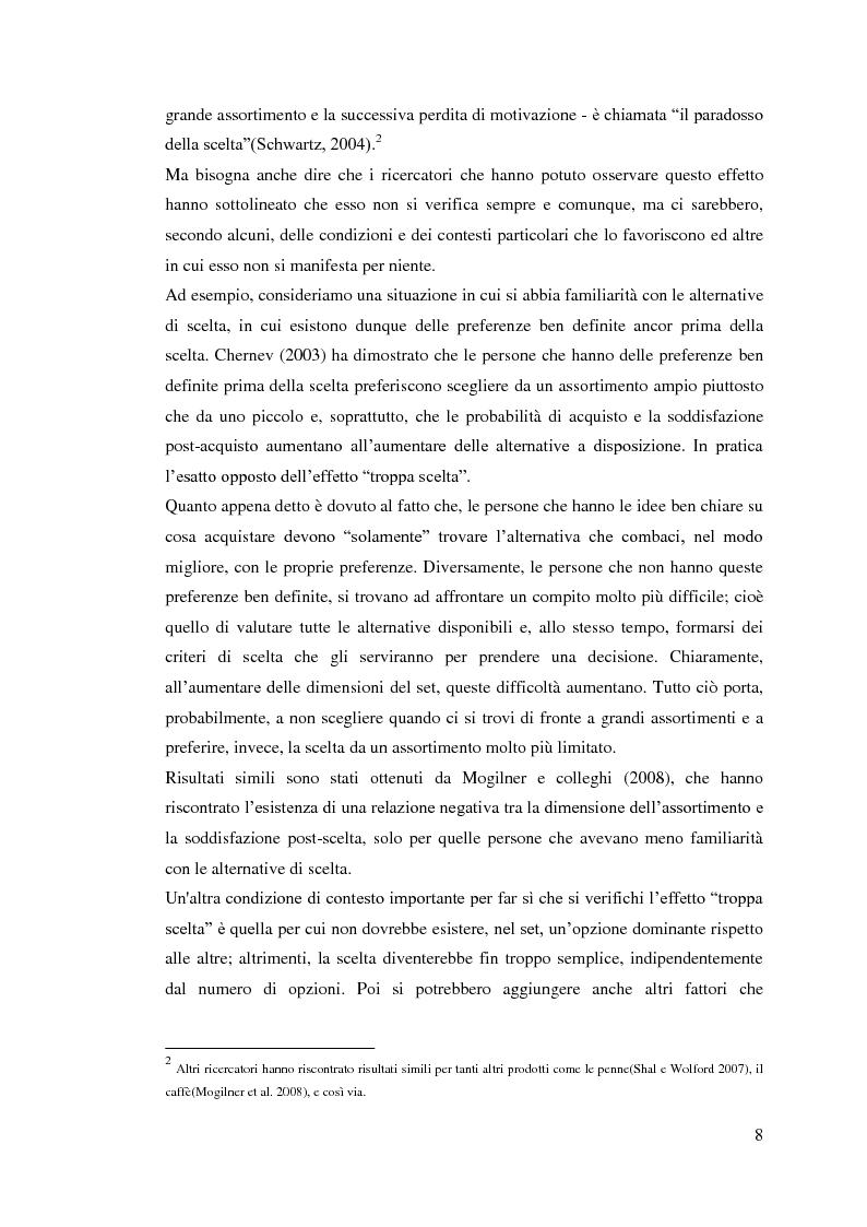 Anteprima della tesi: L'influenza della dimensione dell'assortimento sulle scelte d'acquisto, Pagina 4