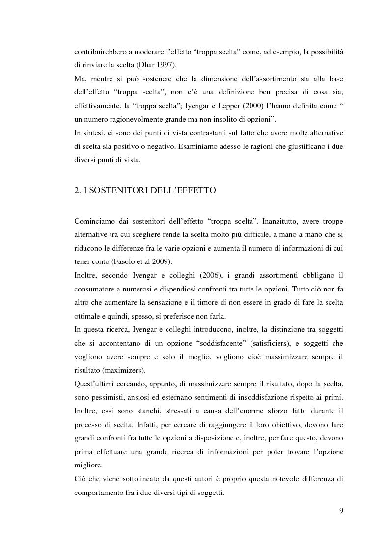 Anteprima della tesi: L'influenza della dimensione dell'assortimento sulle scelte d'acquisto, Pagina 5