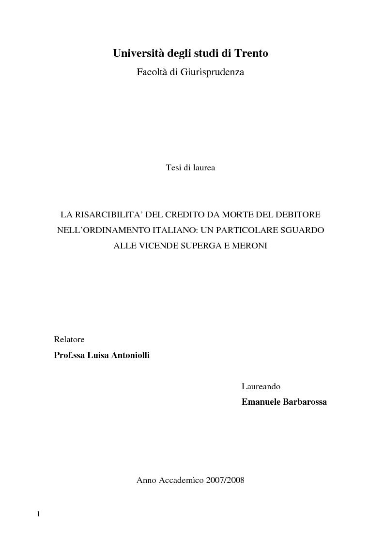 Anteprima della tesi: La risarcibilità del credito da morte del debitore nell'ordinamento italiano: un particolare sguardo alle vicende Superga e Meroni., Pagina 1