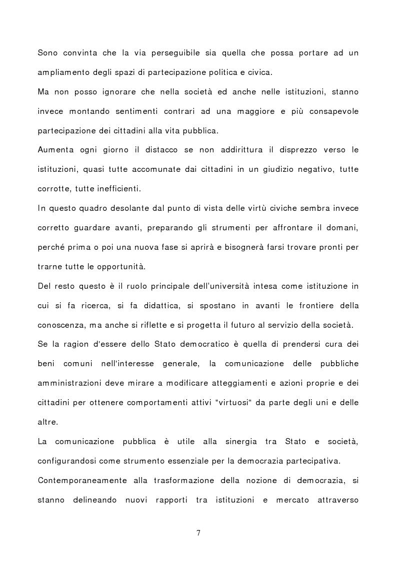 Anteprima della tesi: La comunicazione pubblica: da leva all'accesso alla P.A. a strumento per la democrazia partecipativa., Pagina 5