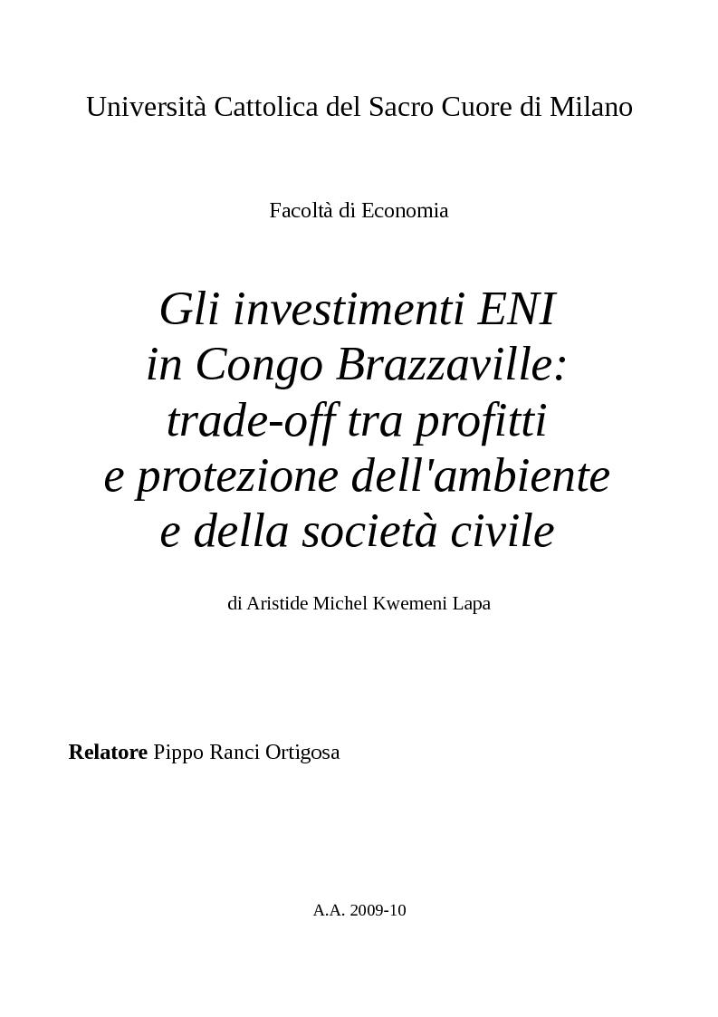 Anteprima della tesi: Gli investimenti Eni in Congo Brazzaville: trade-off tra profitti e protezione dell'ambiente e della società civile, Pagina 1