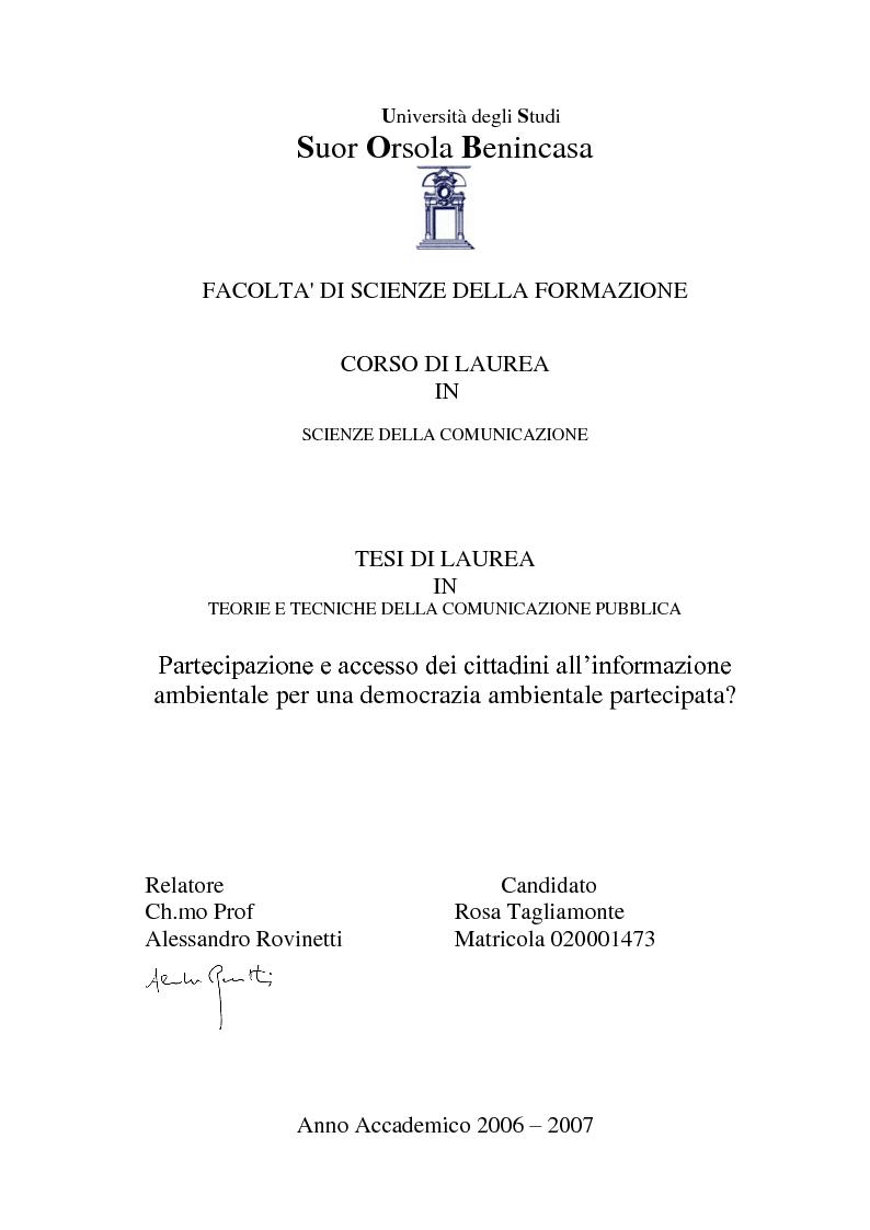 Anteprima della tesi: Partecipazione e accesso dei cittadini all'informazione ambientale per una democrazia ambientale partecipata?, Pagina 1
