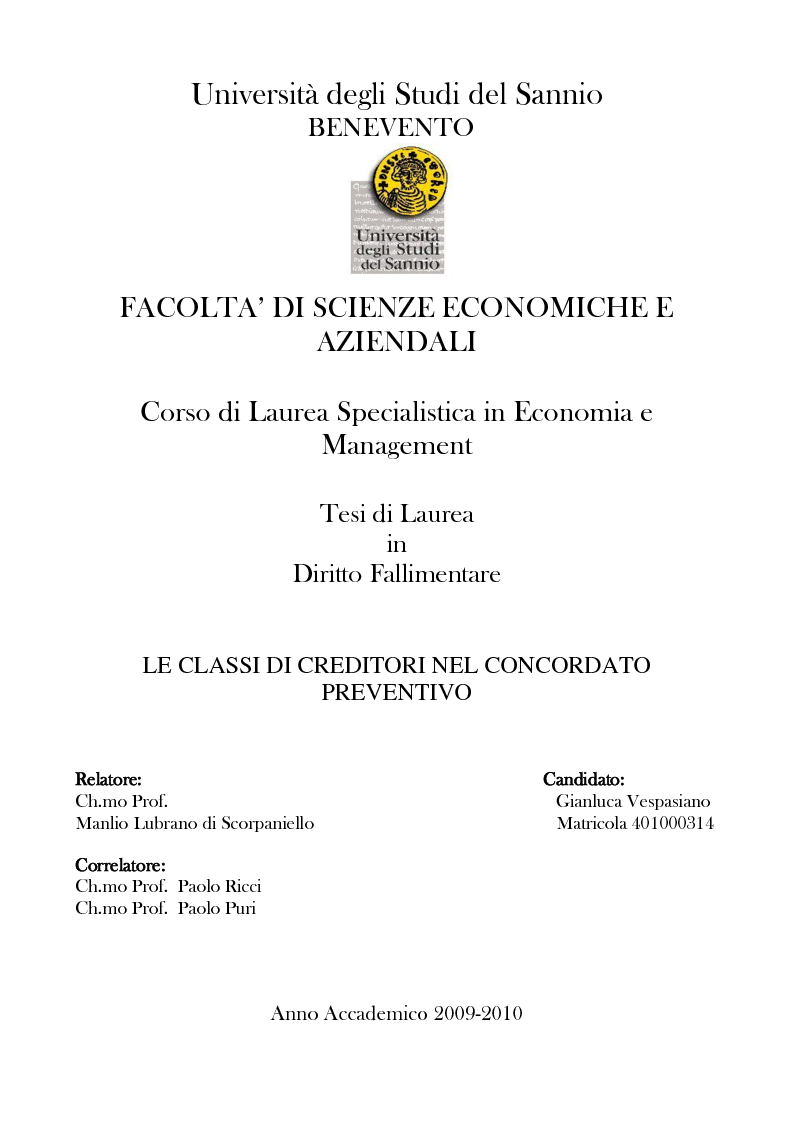 Anteprima della tesi: Le classi di creditori nel concordato preventivo, Pagina 1