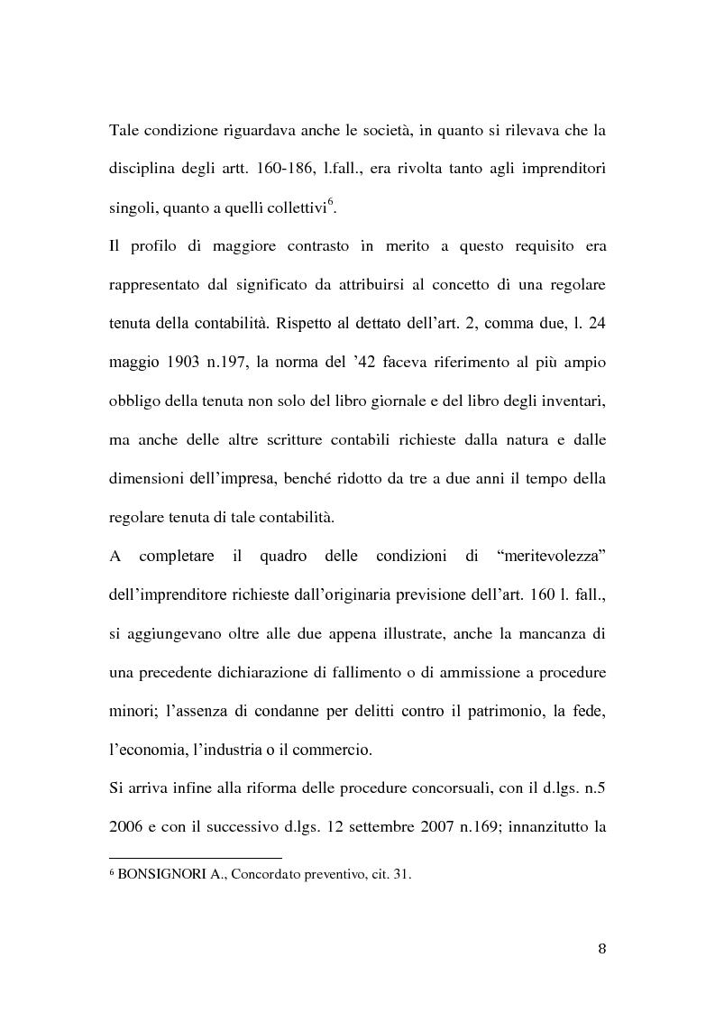 Anteprima della tesi: Le classi di creditori nel concordato preventivo, Pagina 7