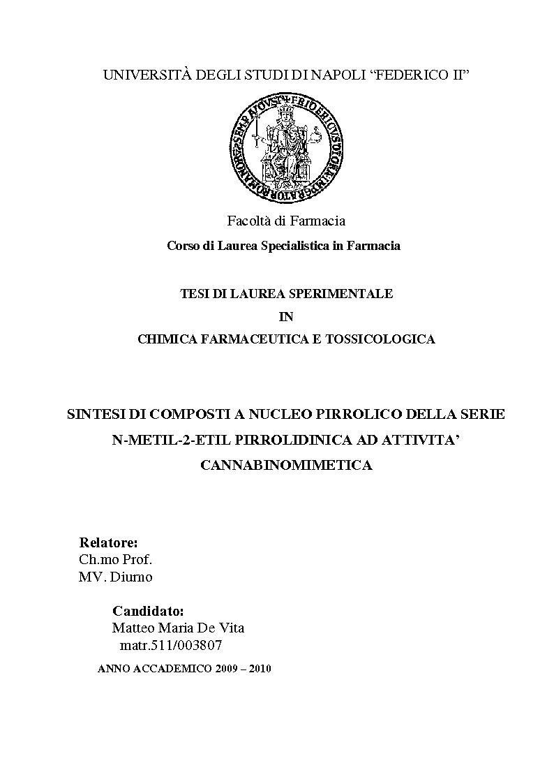 Anteprima della tesi: Sintesi di composti a nucleo pirrolico della serie n-metil-2-etil pirrolidinica ad attività cannabinomimetica, Pagina 1