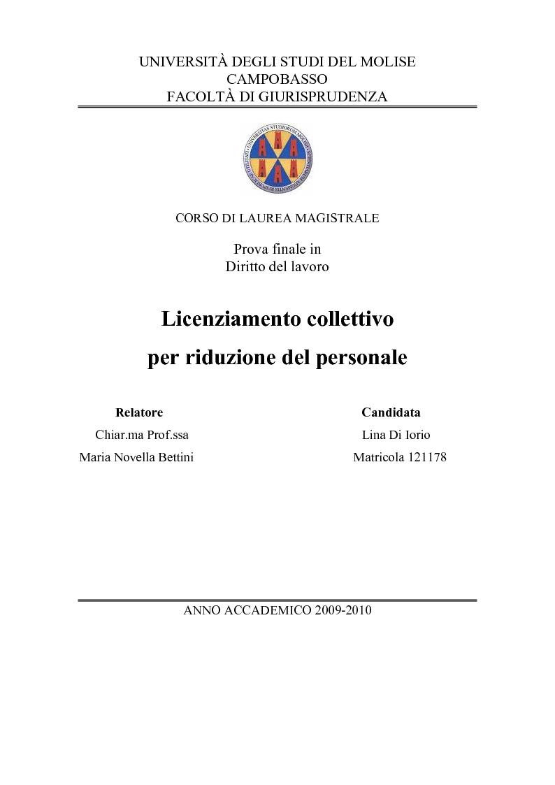 Anteprima della tesi: Licenziamento collettivo per riduzione del personale, Pagina 1