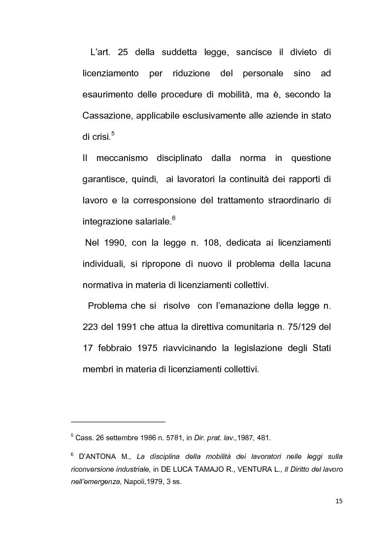 Anteprima della tesi: Licenziamento collettivo per riduzione del personale, Pagina 11