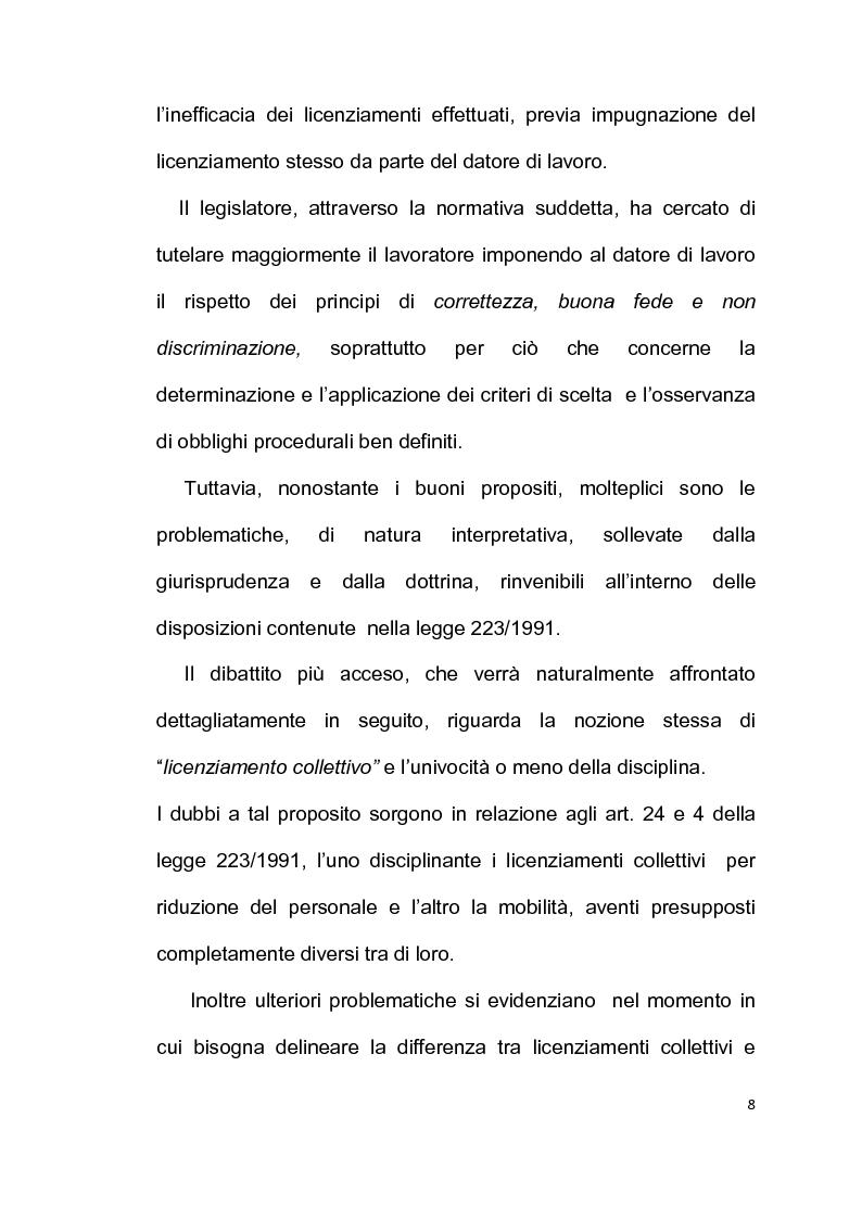 Anteprima della tesi: Licenziamento collettivo per riduzione del personale, Pagina 4