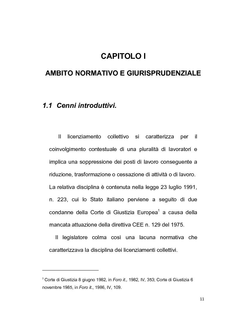 Anteprima della tesi: Licenziamento collettivo per riduzione del personale, Pagina 7