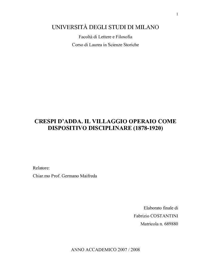 Anteprima della tesi: Crespi d'Adda. Il villaggio operaio come dispositivo disciplinare (1878-1920), Pagina 1