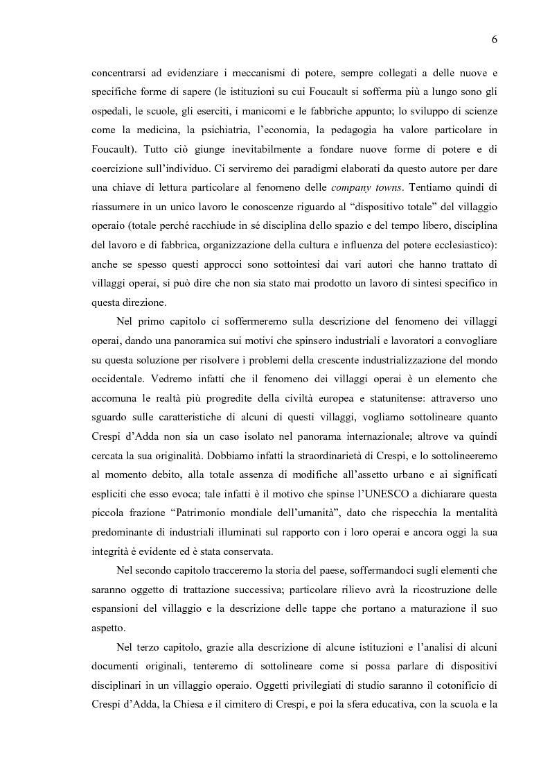 Anteprima della tesi: Crespi d'Adda. Il villaggio operaio come dispositivo disciplinare (1878-1920), Pagina 3
