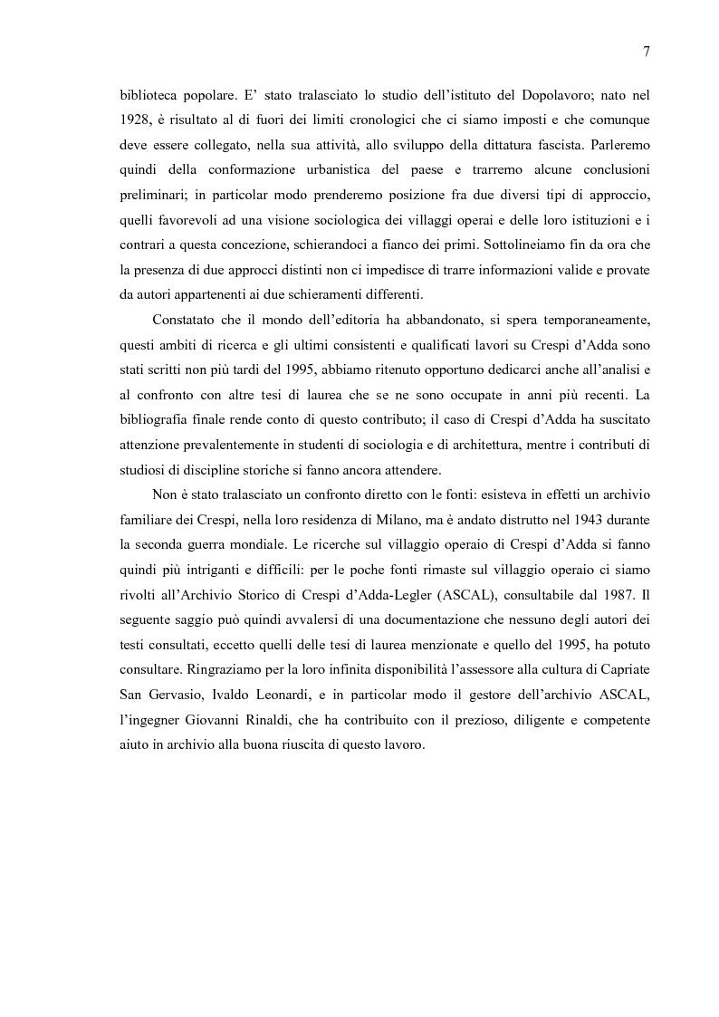 Anteprima della tesi: Crespi d'Adda. Il villaggio operaio come dispositivo disciplinare (1878-1920), Pagina 4