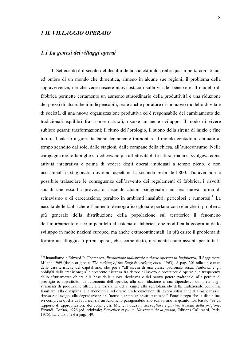 Anteprima della tesi: Crespi d'Adda. Il villaggio operaio come dispositivo disciplinare (1878-1920), Pagina 5