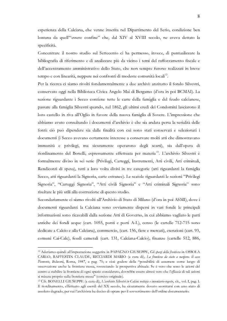 Anteprima della tesi: Una terra separata ai confini del Ducato. Privilegi ed esenzioni della Calciana nel XVIII secolo, Pagina 5