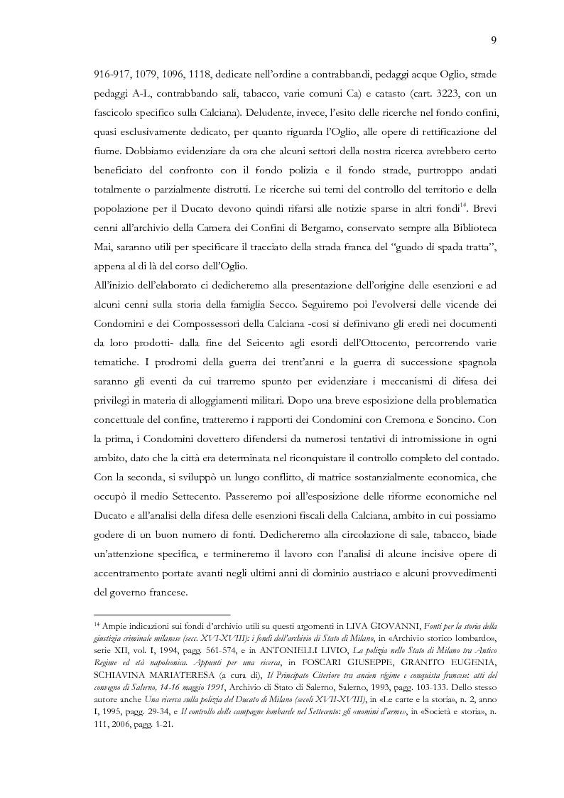 Anteprima della tesi: Una terra separata ai confini del Ducato. Privilegi ed esenzioni della Calciana nel XVIII secolo, Pagina 6